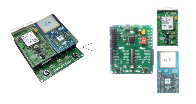 Google Map positioning via SMS using the STM32F1 Easy + Quectel M95